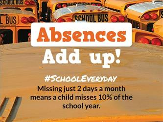 "picture of bus and ""absences add up"""